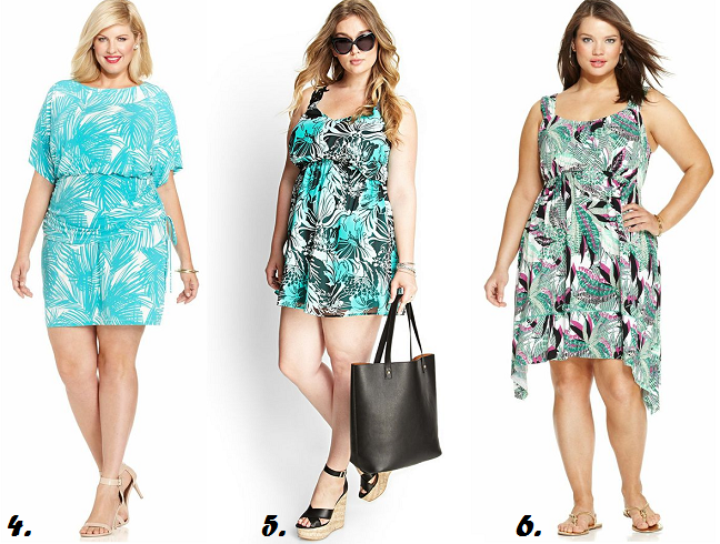 Plus Size Tropical Print Dresses Curvy Women Summer 2014 Shapely