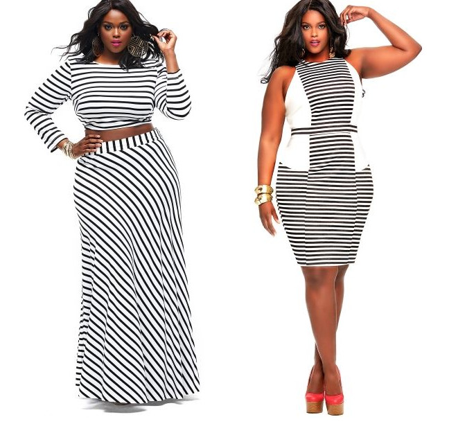 plus-size-black-and-white-stripes-skirt-crop-top-dress-curvy-fashion ...