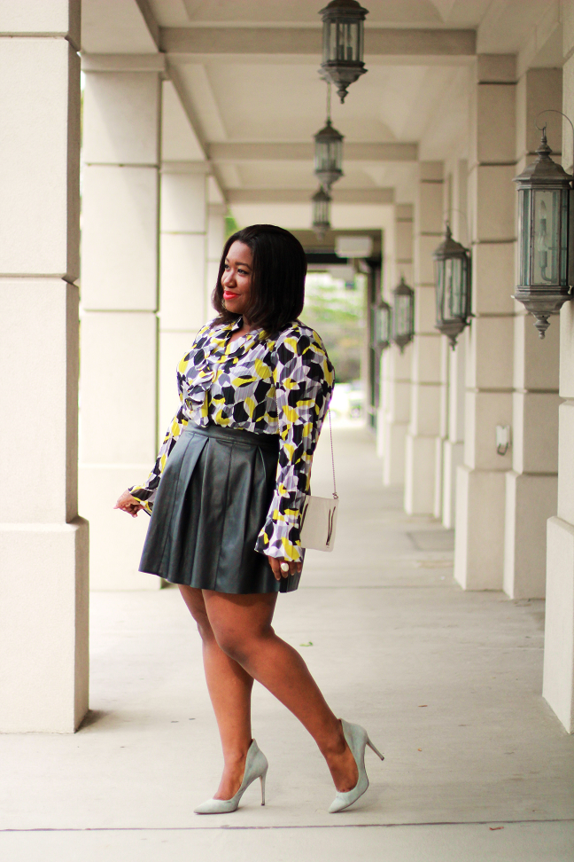 How To Style Plus Size Faux Leather Skater Skirt Curvy Fashion Blog