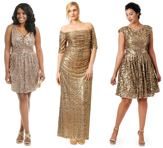 3e69055b759 Plus Size Gold Sequin Dresses Holidays Curvy Fashion Shapely