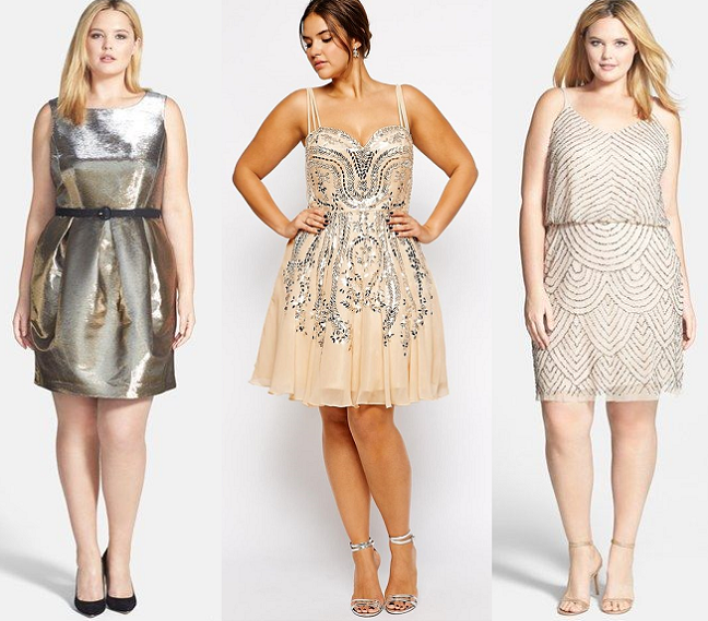 Plus Size Embellished Metallic New Years Eve Dresses Curvy Fashion