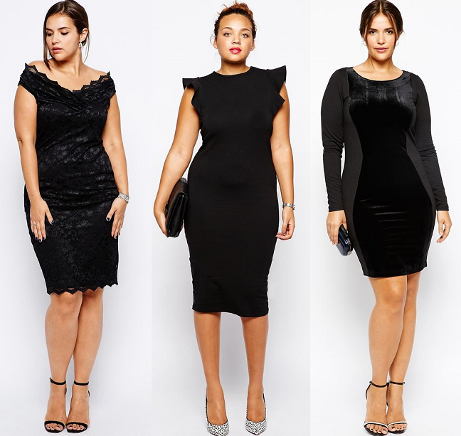 Plus Size Ruffled Little Black Dresses Holiday 2014 Curvy Fashion