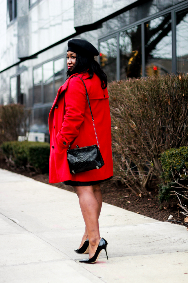 Valentines Day Outfit Ideas Red Coat Black Leather Skirt Plus Size