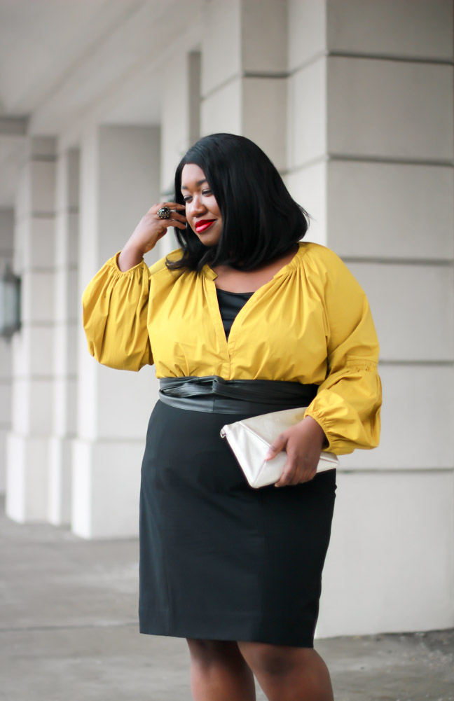 b831d99f6aa plus-size-statement-sleeves-yellow-black-pencil-skirt-outfit-idea-curvy- fashion-blog