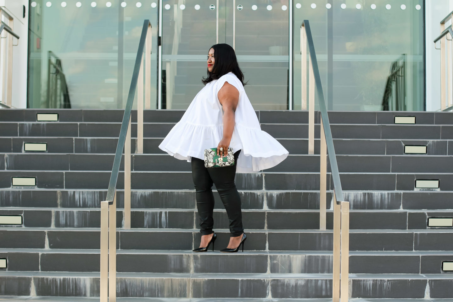 Plus Size Fashion for Women • White Shirt Outfit Idea • Shirt Show | Shapely Chic Sheri