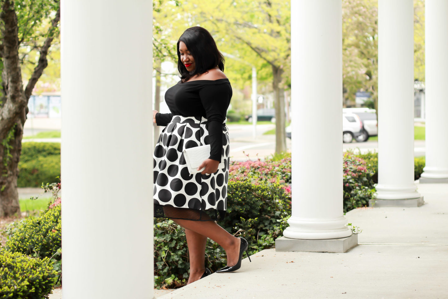 Plus Size Fashion for Women • Plus Size Midi Skirt Outfit Idea • On the Spot | Shapely Chic Sheri