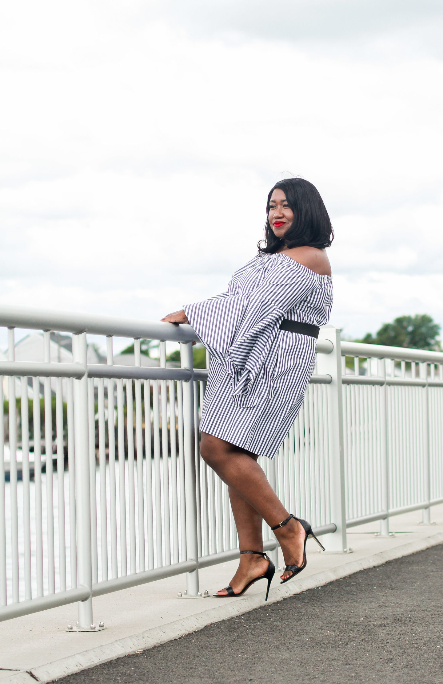 Plus size fashion blog bell sleeve dress outfit idea for summer.