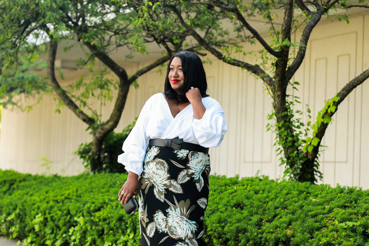 plus size statement sleeves outfit idea for curvy fashion blog