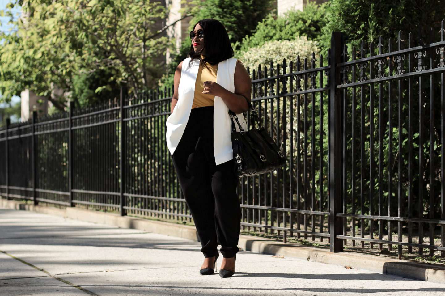 plus size transitional fall outfit idea