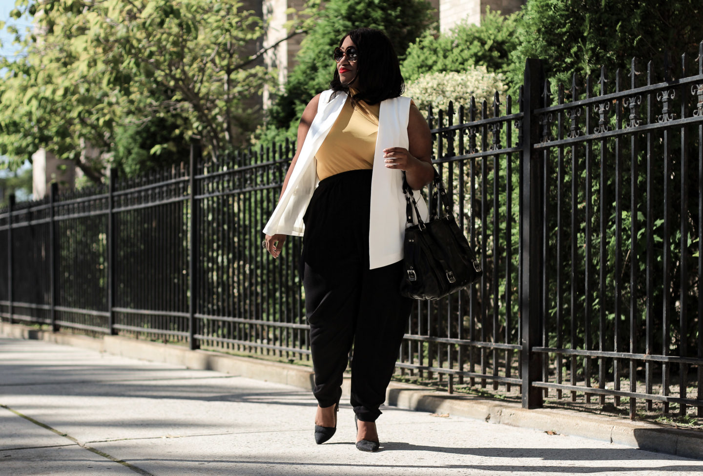 transitional fall office outfit idea for plus sizes