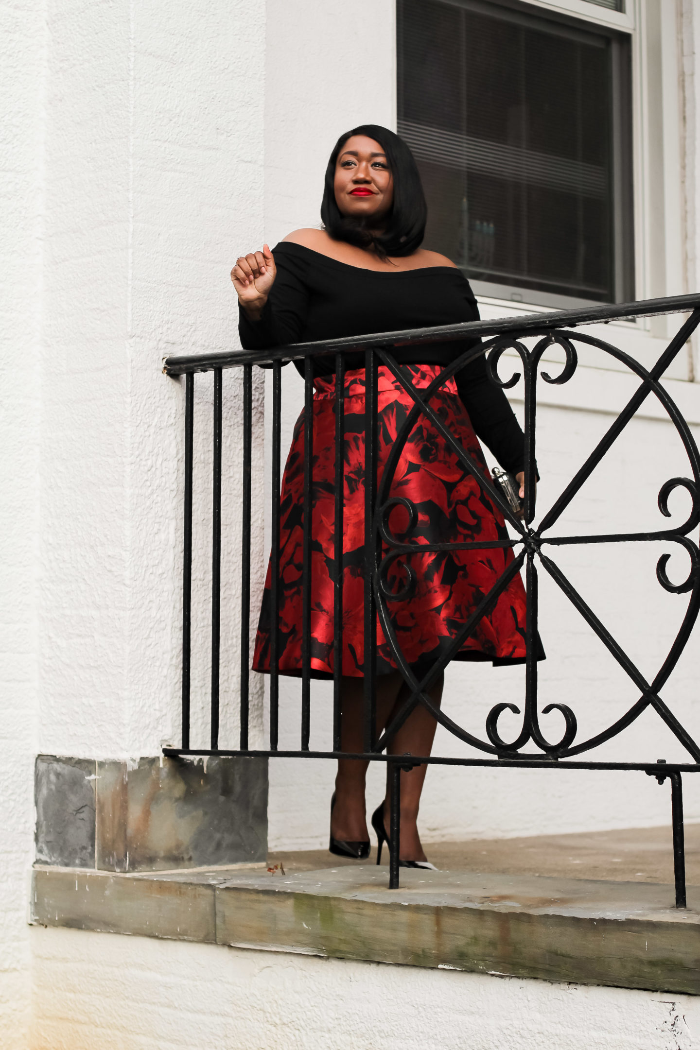 Plus Size Fashion • Plus Size Holiday Skirt Outfit • Merry Christmas • Shapely Chic Sheri