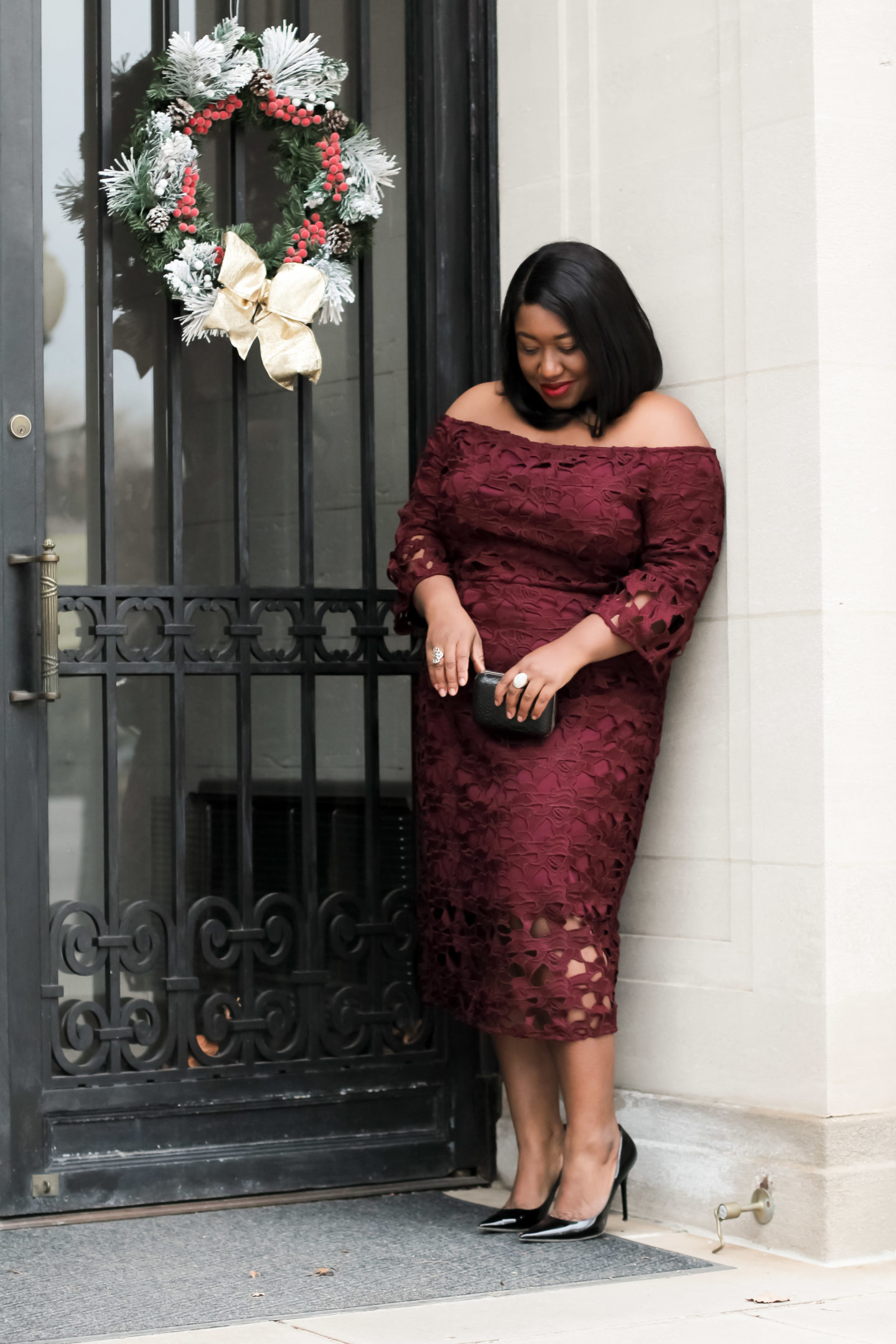 Plus Size Fashion • Plus Size Wine Dress Holiday Outfit • In the Spirit • Shapely Chic Sheri