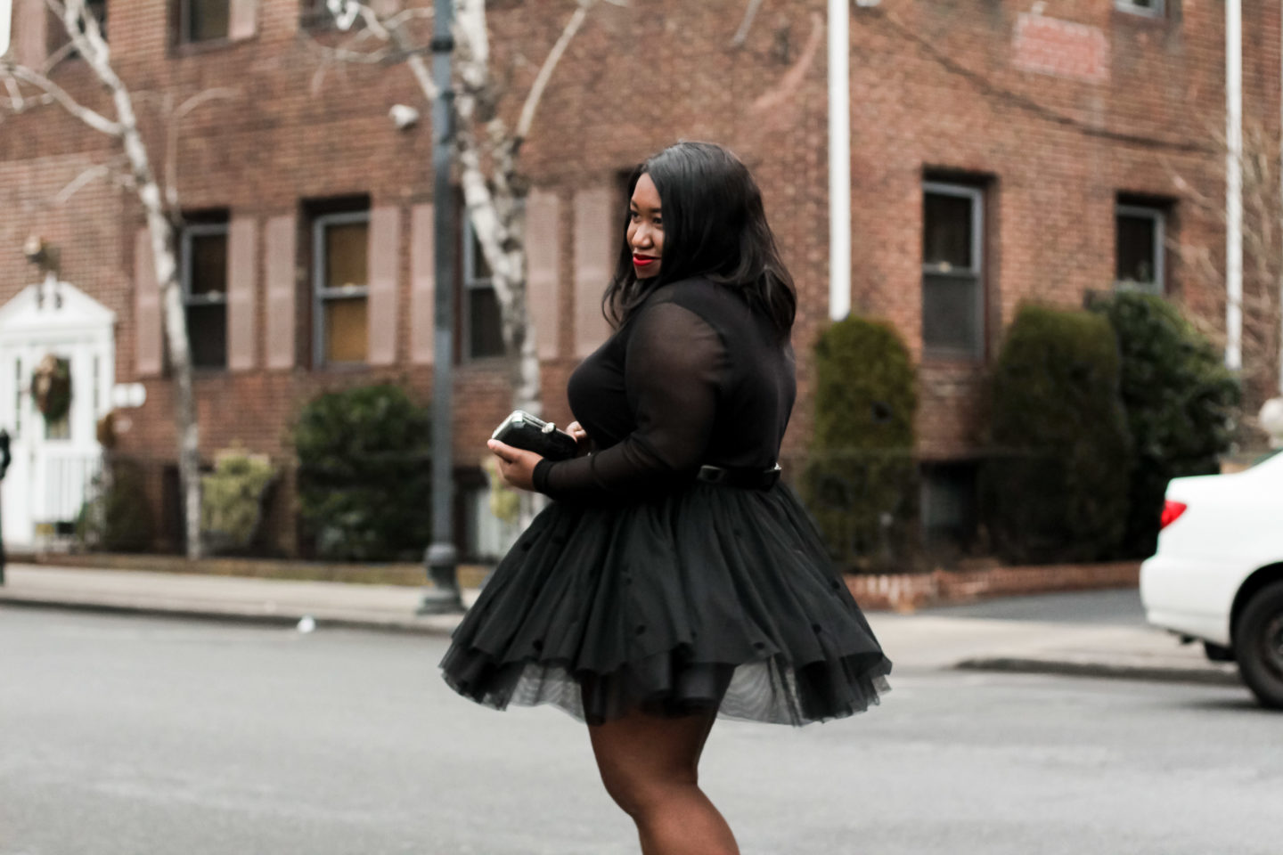Plus Size Fashion • Plus Size Tulle Skirt Holiday Outfit • Tulles of the Trade • Shapely Chic Sheri