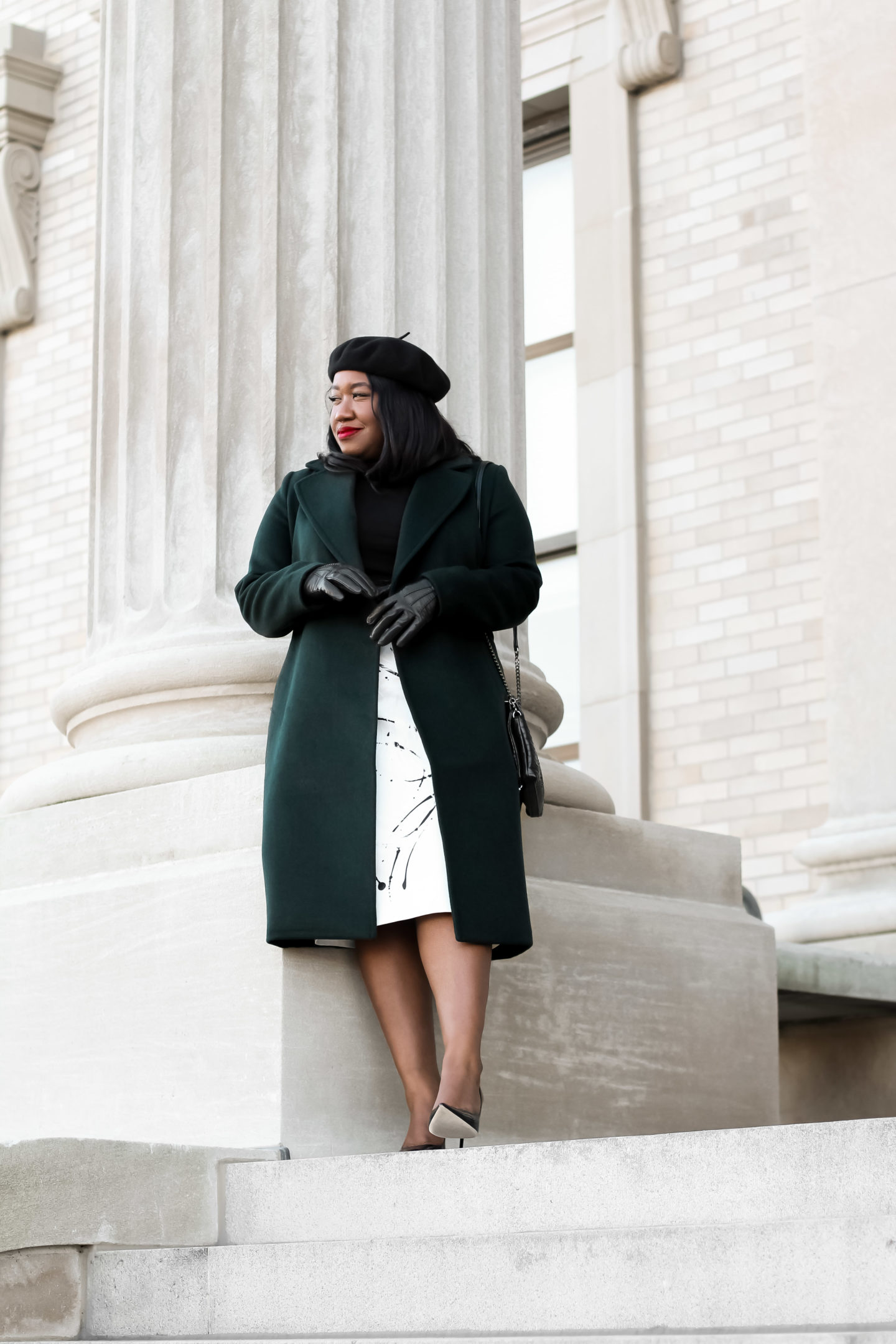 Plus Size Fashion for Women • Plus Size Green Coat Work Outfit Idea • Green Light | Shapely Chic Sheri
