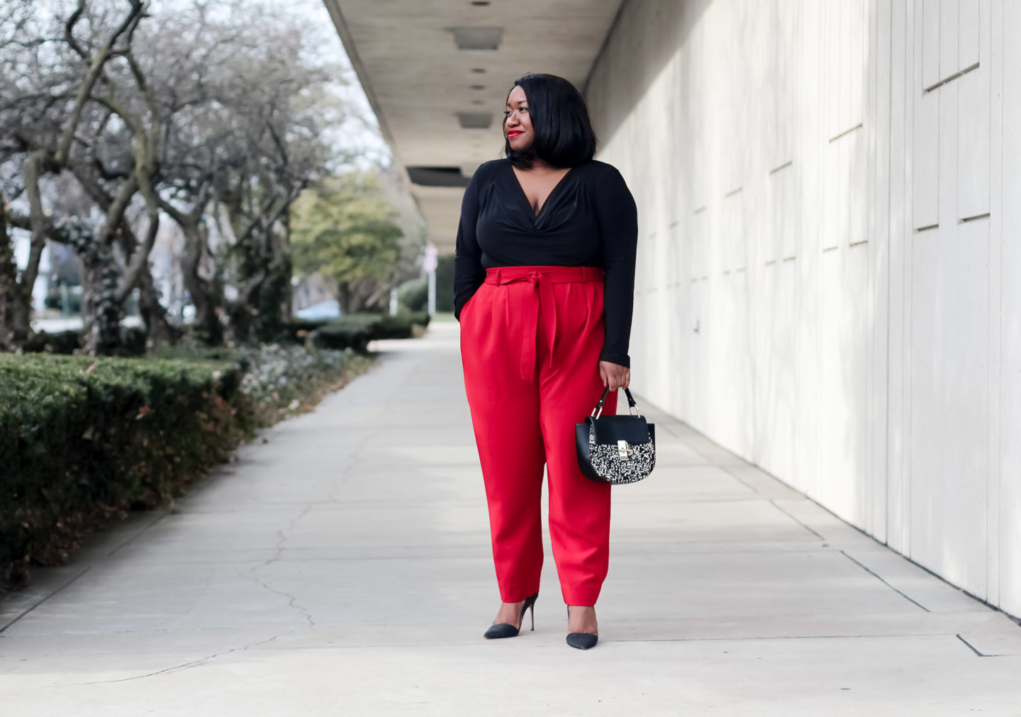 Plus-Size Red Pants Outfit - Seeing Red | Shapely Chic Sheri