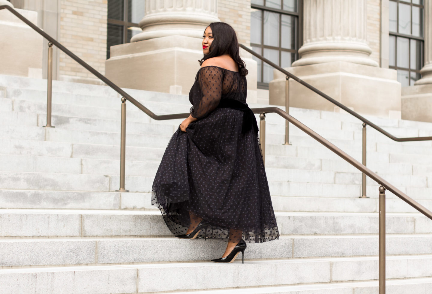 445ac683933 Plus Size Tulle Skirt Outfit Idea for Holidays - Shapely Chic Sheri - Plus  Size Fashion Blog for Curvy Women